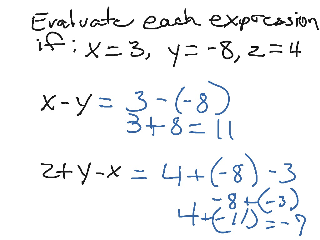 worksheet Evaluating Expressions Worksheets evaluate algebraic expressions pre algebra middle school math 6 ee 2 showme
