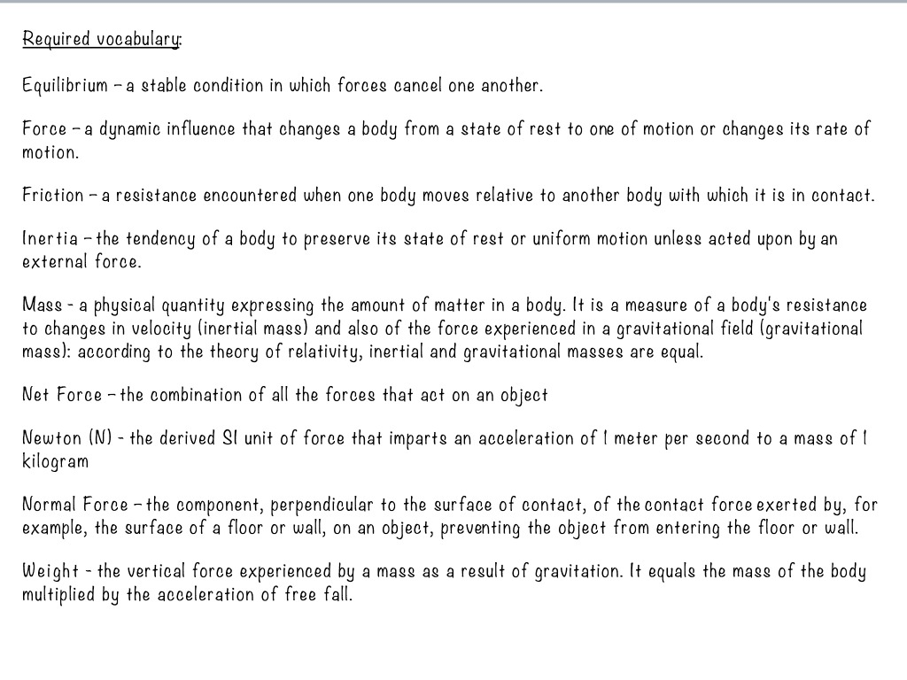 Newtons Laws Science Showme External Forces That Act On An Object As A Result Of Its