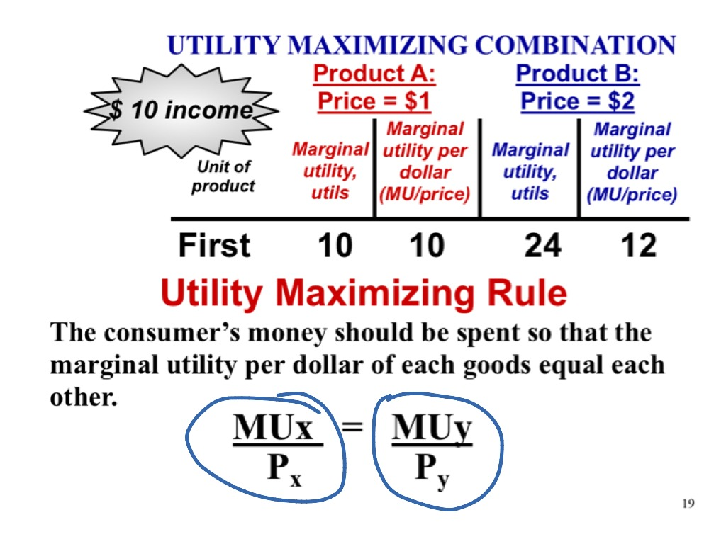 utility maximizing rule 7 balancing utility and price think about a consumer's choice between purchasing plane tickets and milk what is the utility-maximizing rule consumers should follow when choosing the optimal quantities of these two goods.