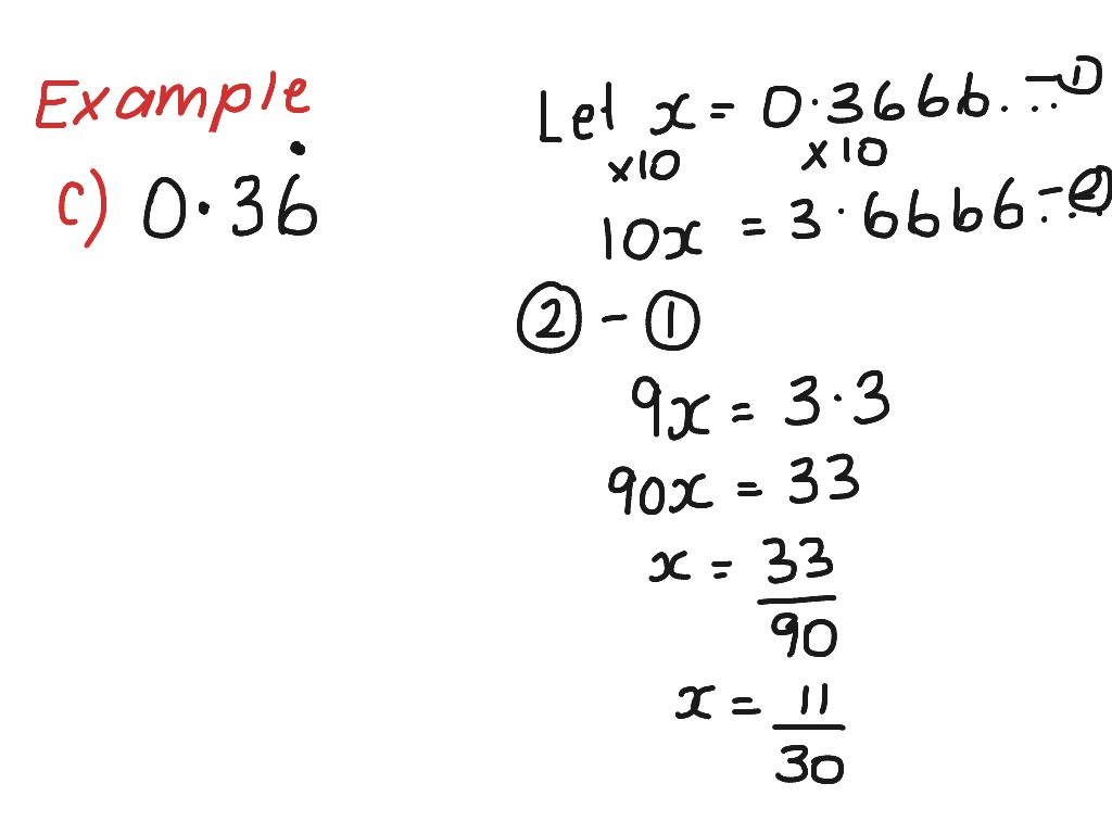 showme - changing repeating decimals to fraction