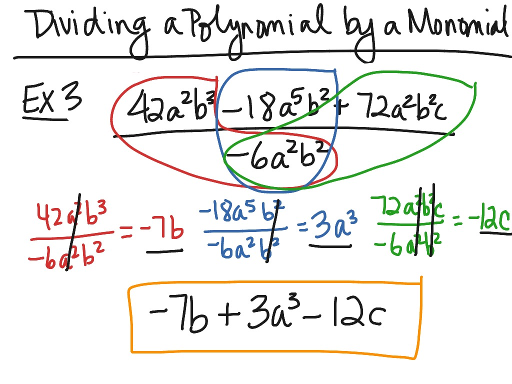 Dividing polynomial by monomial | Math, Algebra, exponents | ShowMe