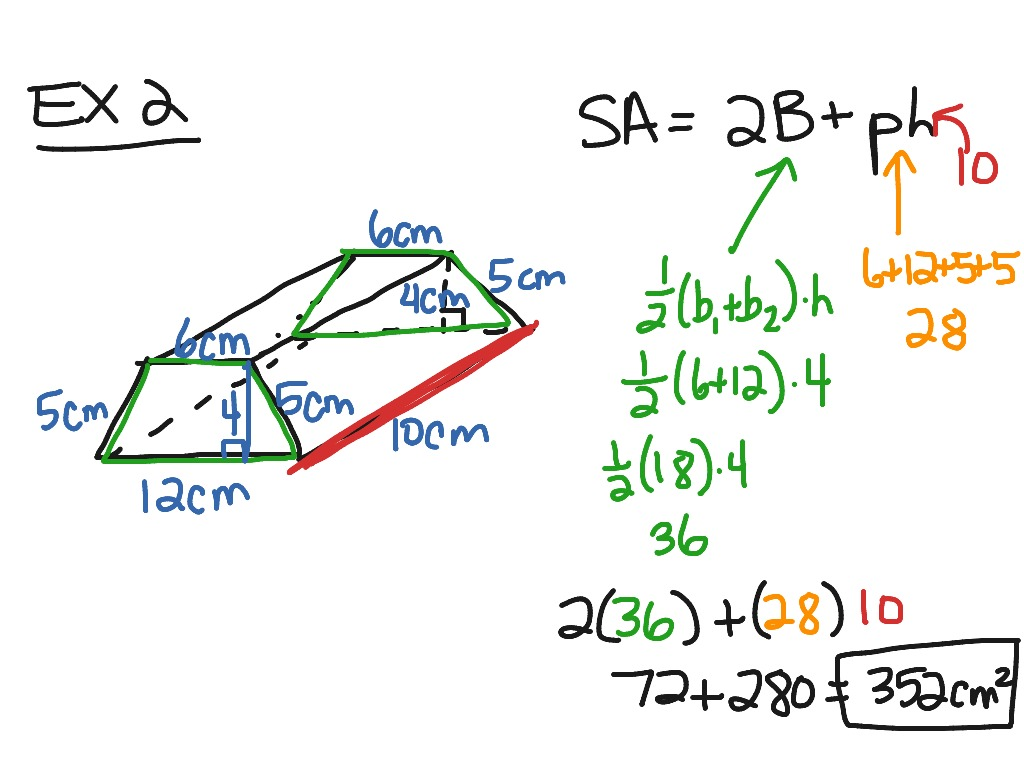 area and prism Triangular prisms break down surface area calculation into a series of operations by incorporating a triangle's area and perimeter formulas into the equation surface area = 2  base triangle's area + triangle's perimeter  prism's height, you can easily calculate the surface area of tents and other triangular prisms.