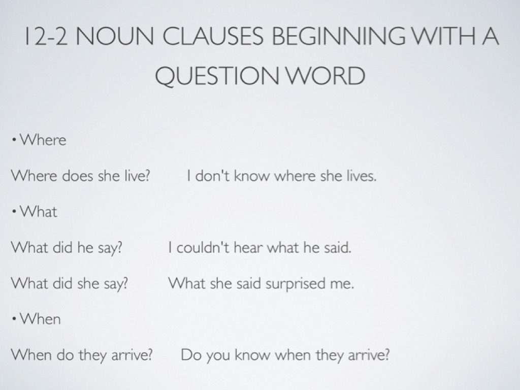 noun clause questions