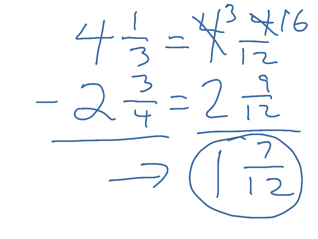 worksheet Subtracting Mixed Numbers With Regrouping subtracting mixed numbers w regrouping showme