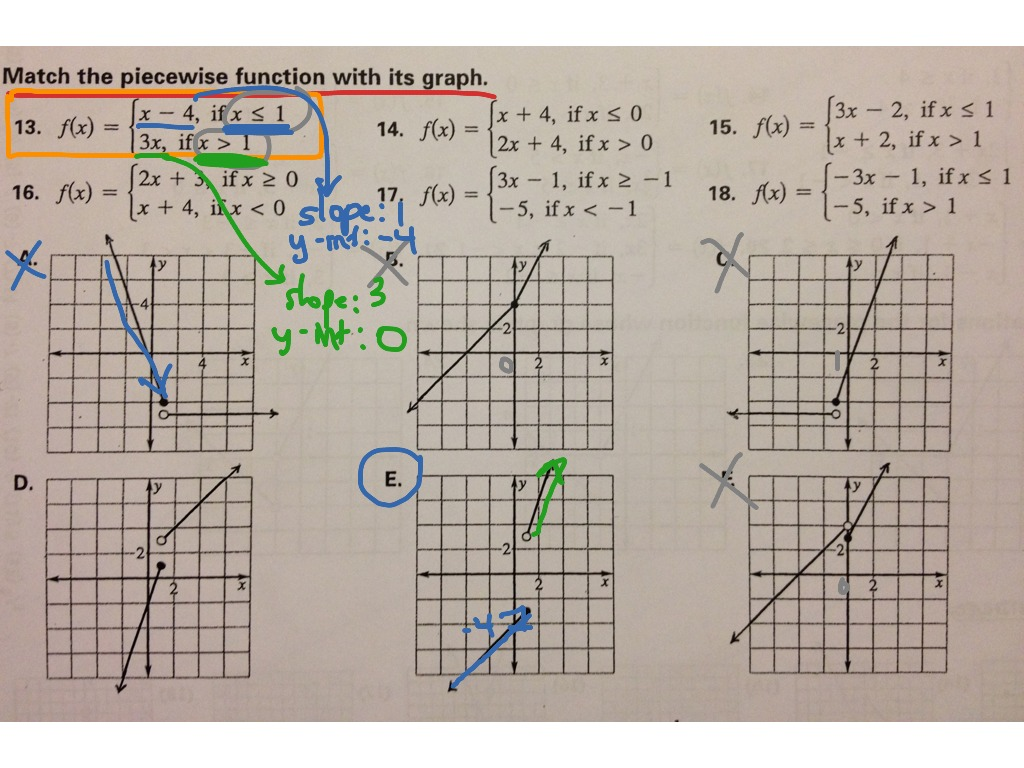Matching Piecewise Functions to their Graphs | Math, Algebra ...