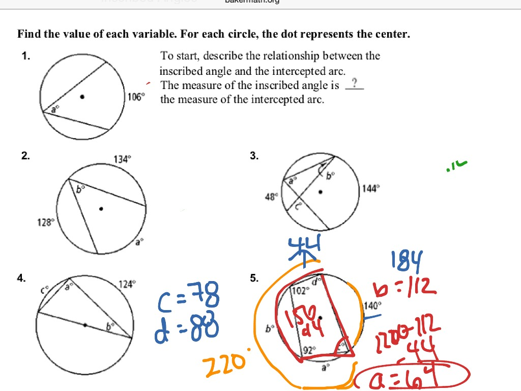 Worksheets Central And Inscribed Angles Worksheet showme inscribed angles most viewed thumbnail