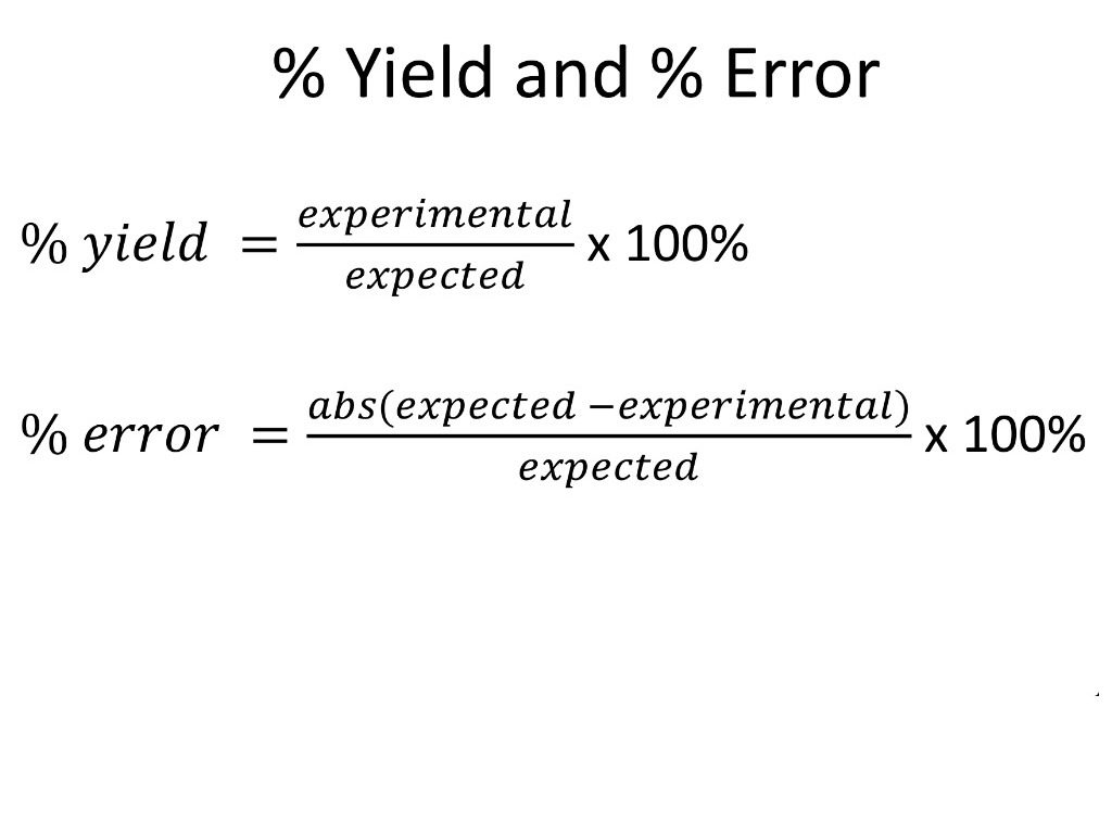 Percent Yield And Percent Error Science Chemistry Percent Yield