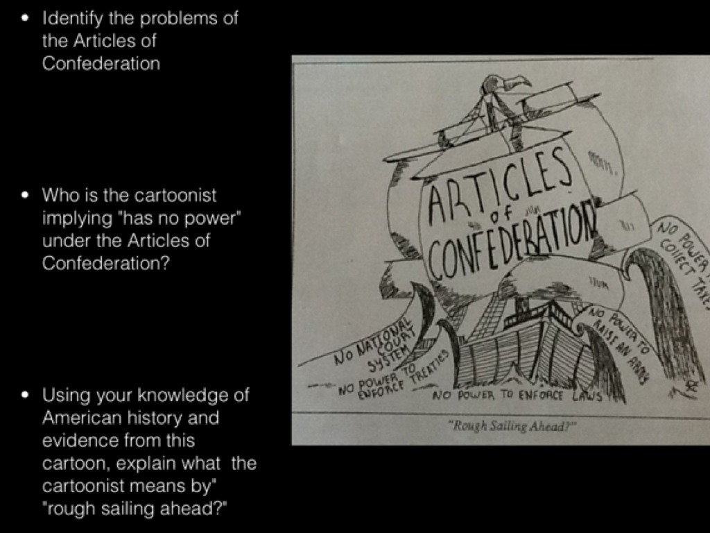 Analyzing a political cartoon The Articles of Confederation