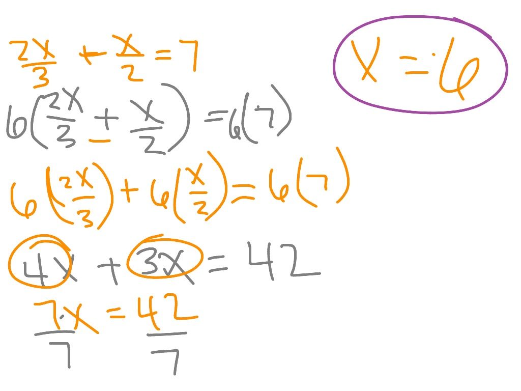 worksheet Multi Step Equations With Fractions solving multi step equations with fractions method 1 and 2 math showme
