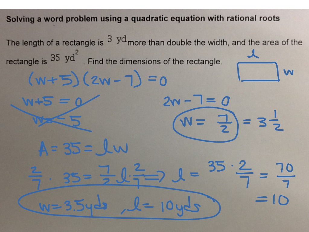 MAT 0028 ALEKS Module 6: Solving a word problem using a quadratic equation  with rational roots | Algebra | ShowMe