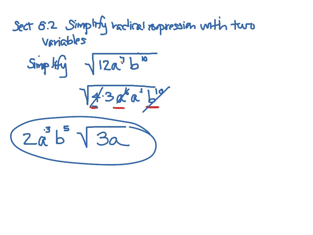 Simplify Radical Expressions With Variables