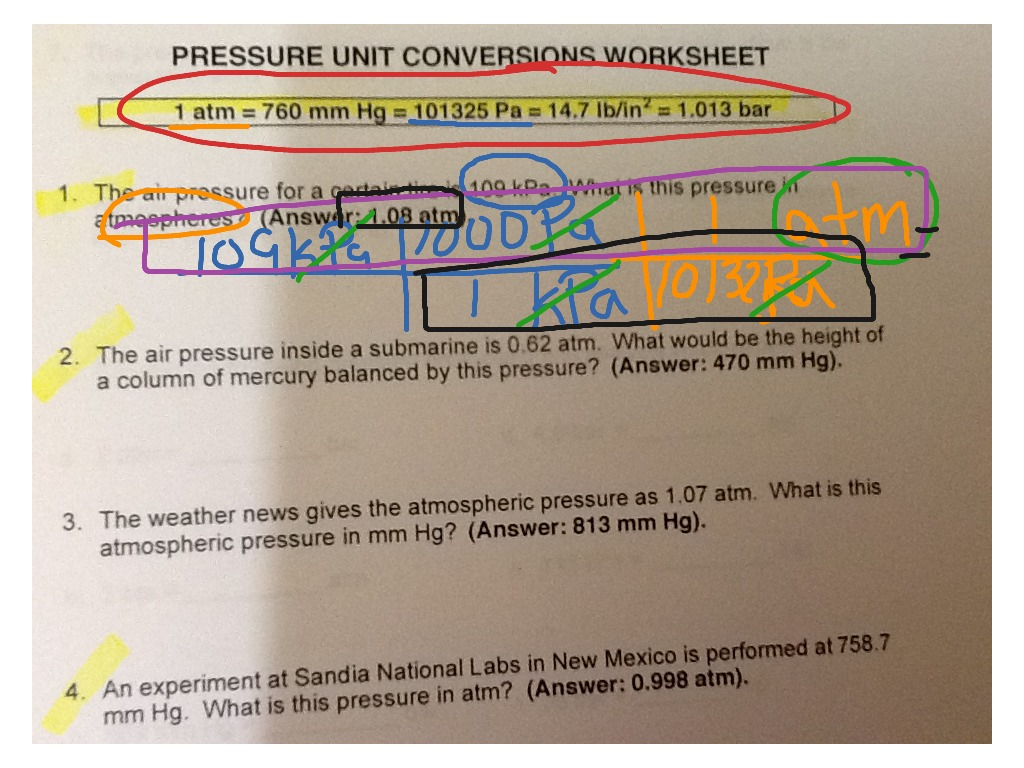 Pressure Unit Conversions Worksheet Problem 1 Science Chemistry