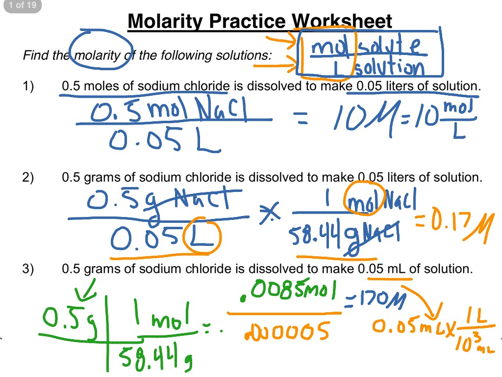 Molarity practice worksheet 1-3 | Science, Chemistry ...