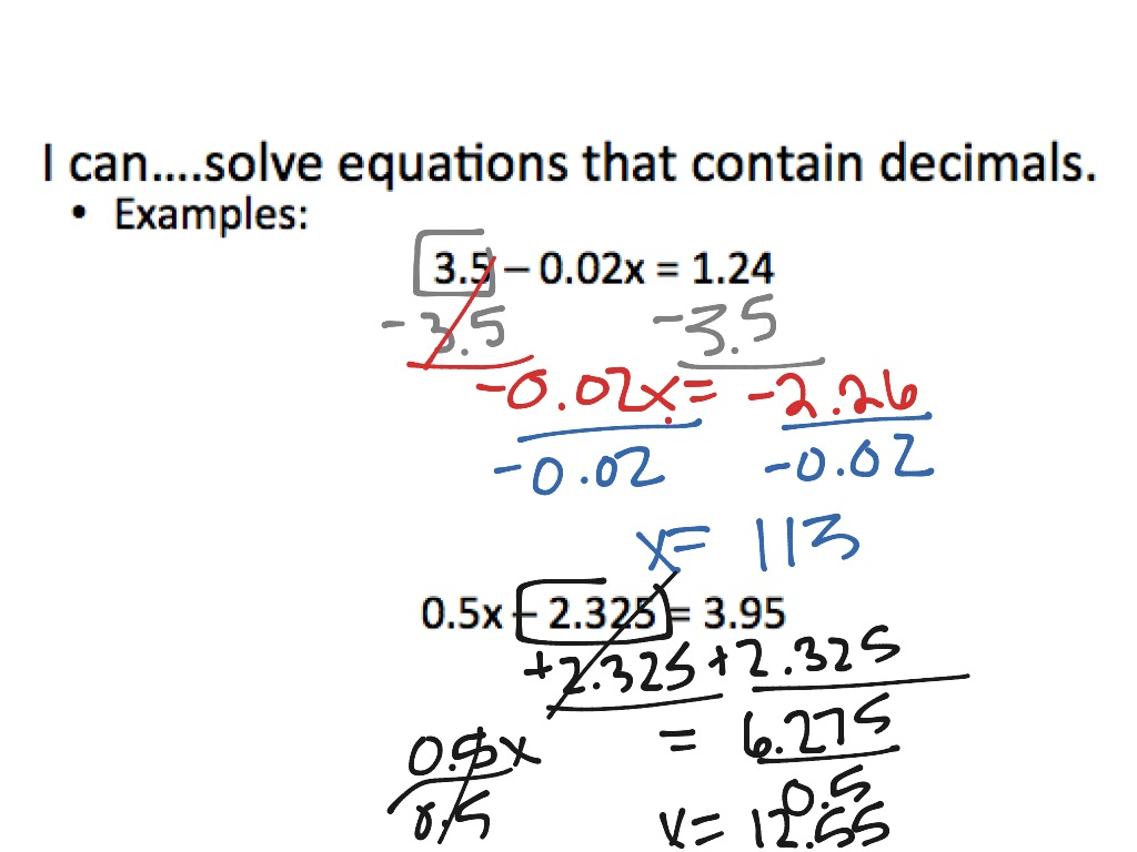 2.3 solving multi-step equations with fractions and decimals | math
