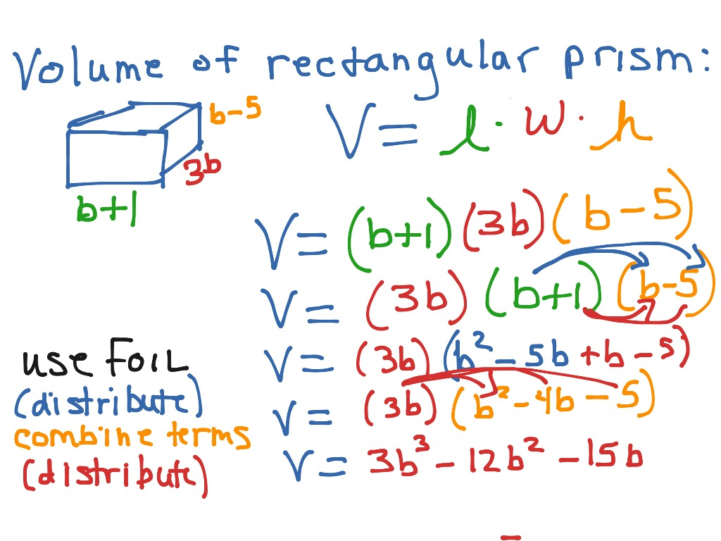 Volume of rectangular prism with polynomial expressions math volume of rectangular prism with polynomial expressions math algebra simplifying expressions distributive property showme falaconquin