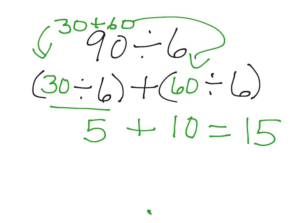 showme division and distributive property to find quotient