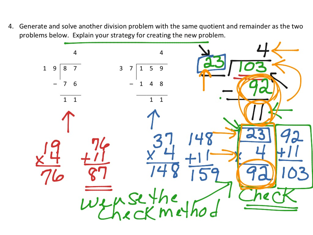 worksheet Division Problem finding a division problem with the same quotient remainder math elementary 5th grade showme
