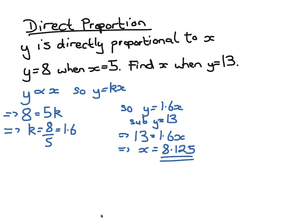 Direct Proportion Example Math Showme