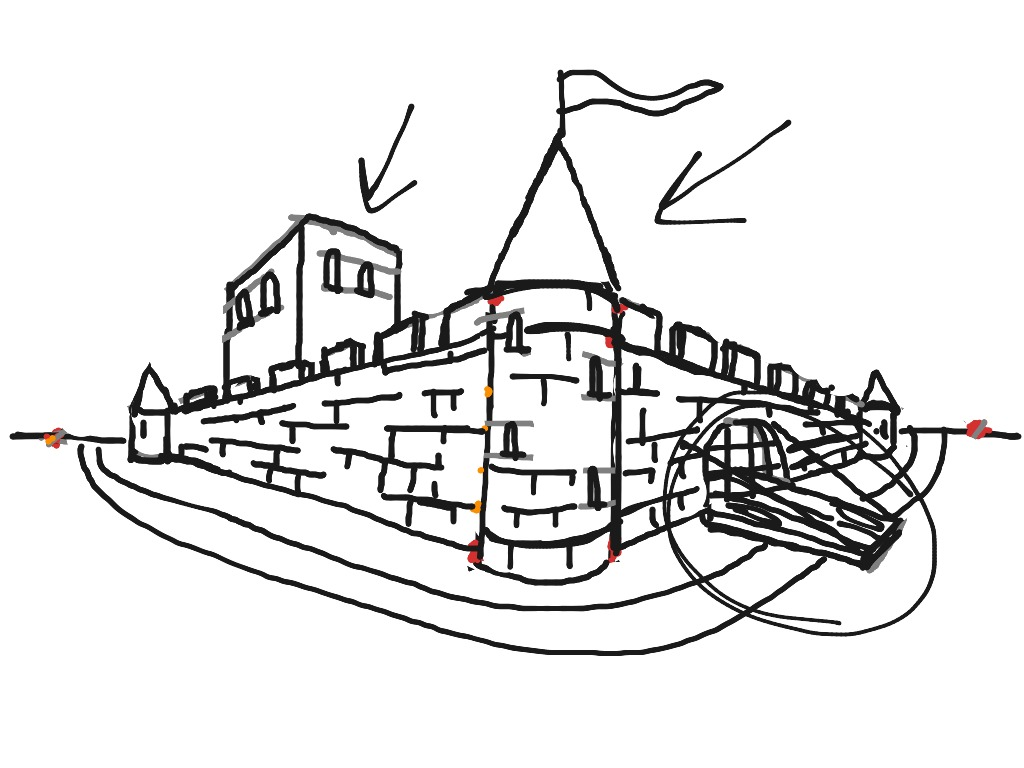 medieval castle two point perspective art drawing history