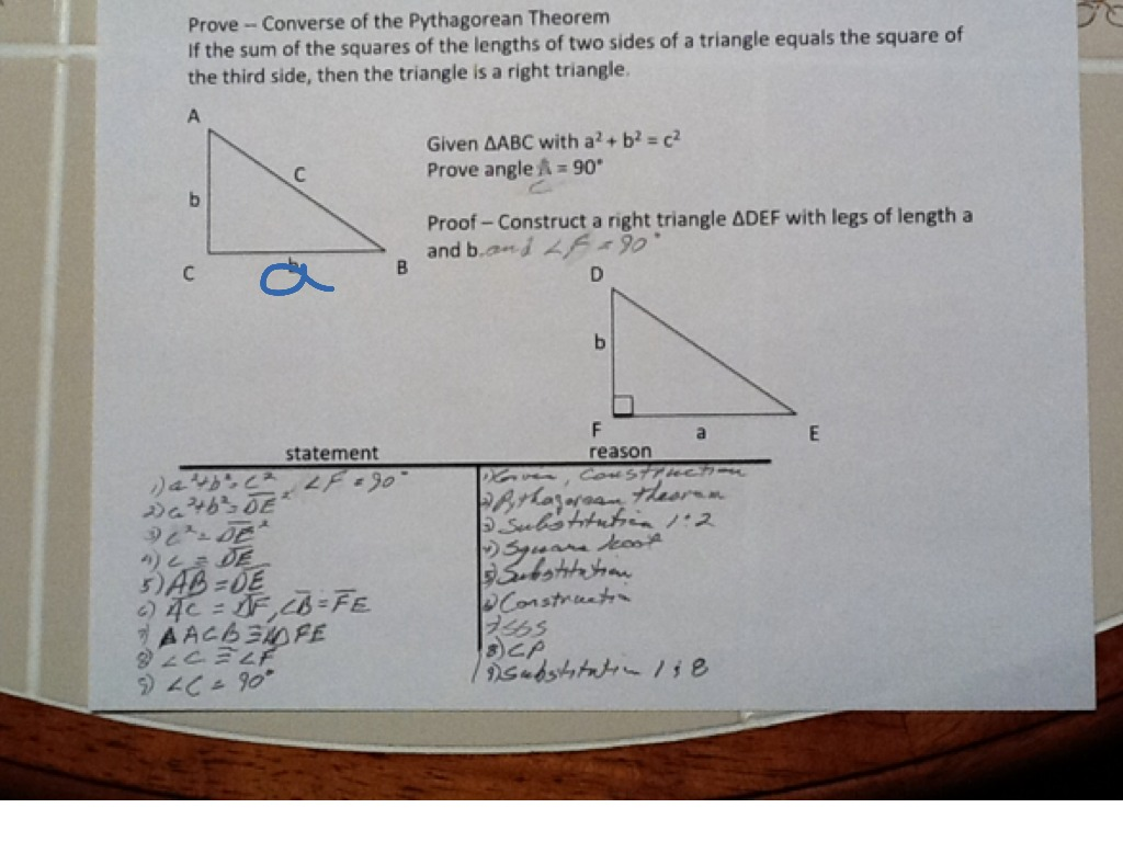 Proof Of Converse Of Pythagorean Theorem For James Geometry Showme