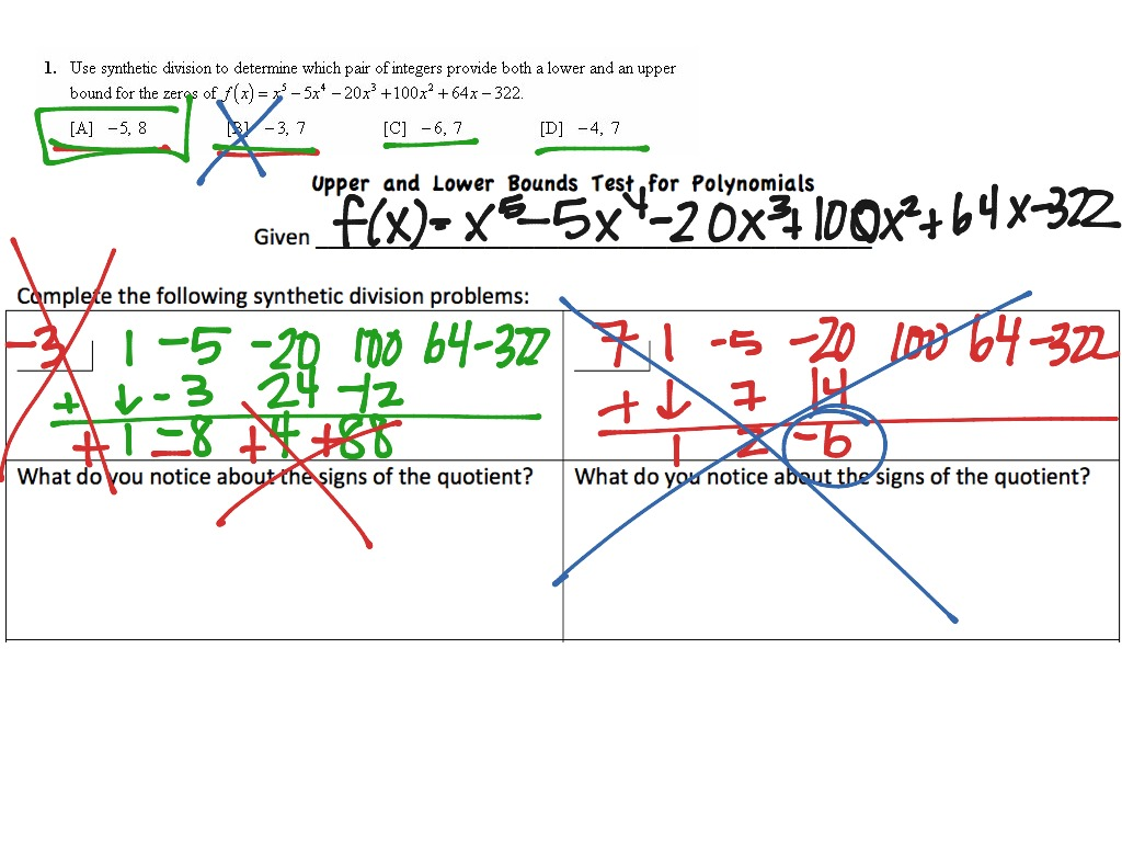 Upper and Lower Bounds Test | Math, Precalculus | ShowMe