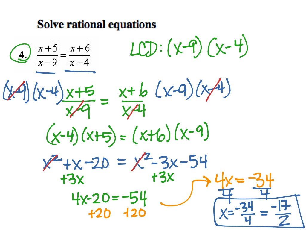 Solving Rational Equations – Solving Rational Equations Worksheet