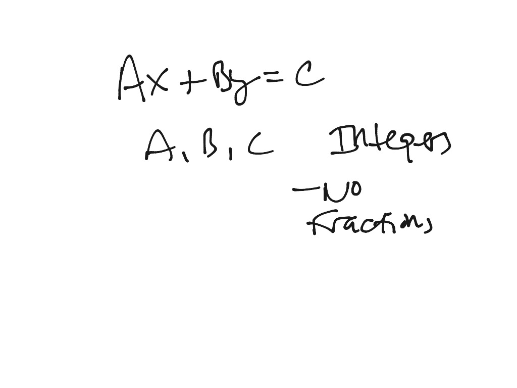 Showme write an equation in standard form with integer coefficients most viewed thumbnail linear equations in standard form falaconquin
