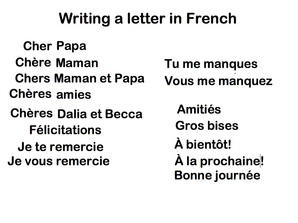 Writing a french letter french showme spiritdancerdesigns Choice Image