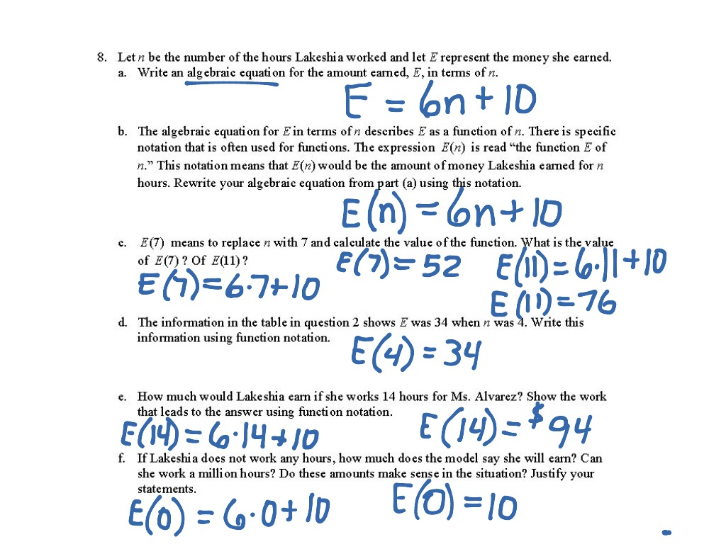 Worksheets Function Notation Worksheet 7 8f connecting tables graphs and function notation math algebra functions showme
