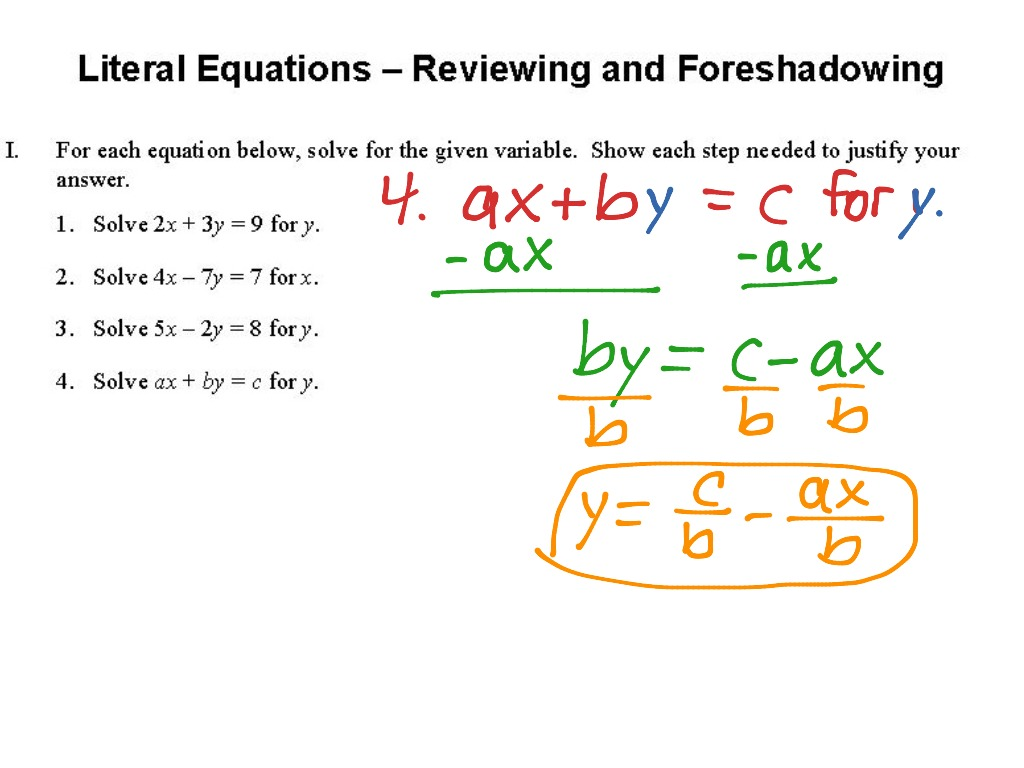 Worksheets Solving Literal Equations Worksheet 1 4 literal equations reviewing and foreshadowing math algebra showme