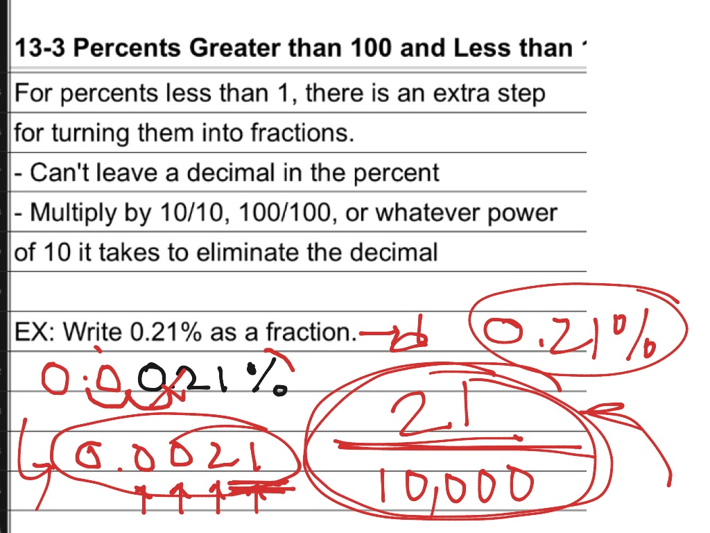 Percents Greater Than 100 or Less Than 1 - ppt video online download