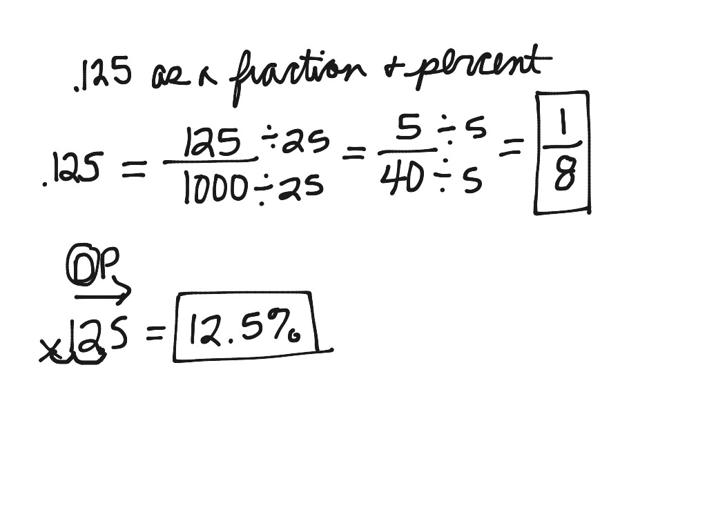 125 As A Fraction And Percent Math Showme