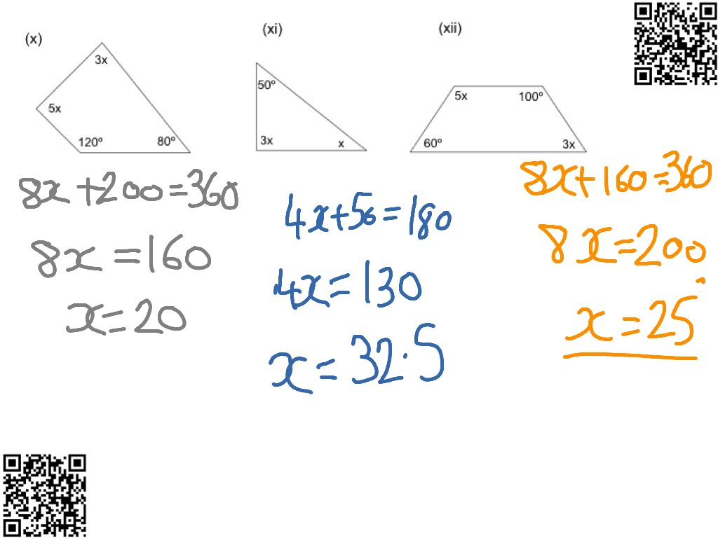 Forming And Solving Equations From Angles Algebra Solving