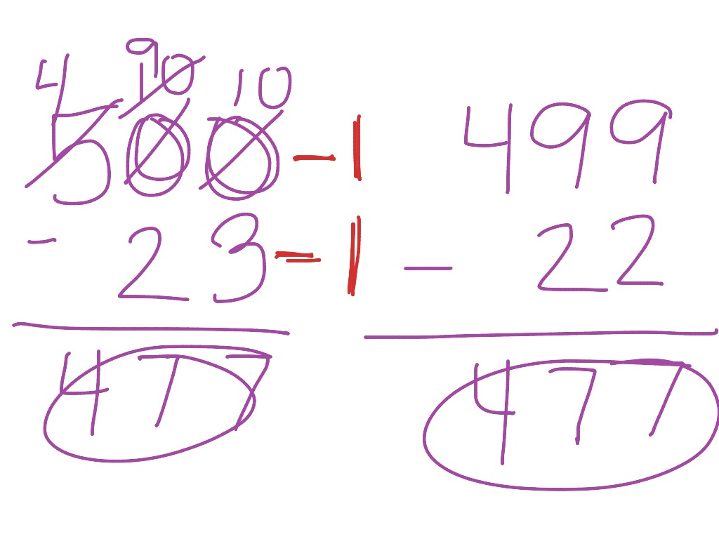 worksheet Subtracting With Zeros subtracting across zeros trick math showme