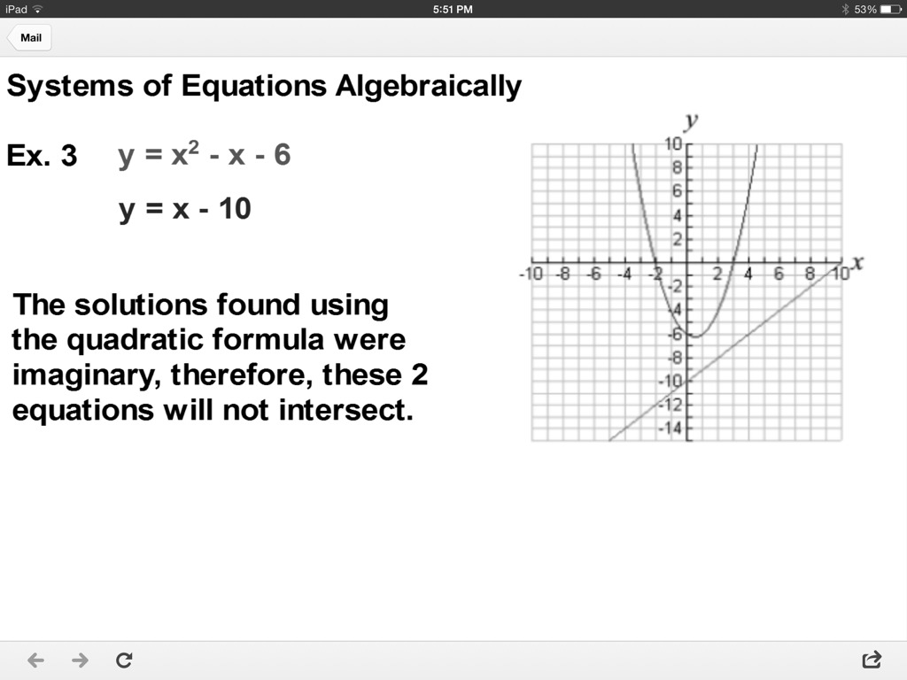 ShowMe 98 systems of linear and quadratic equations – Systems of Linear and Quadratic Equations Worksheet
