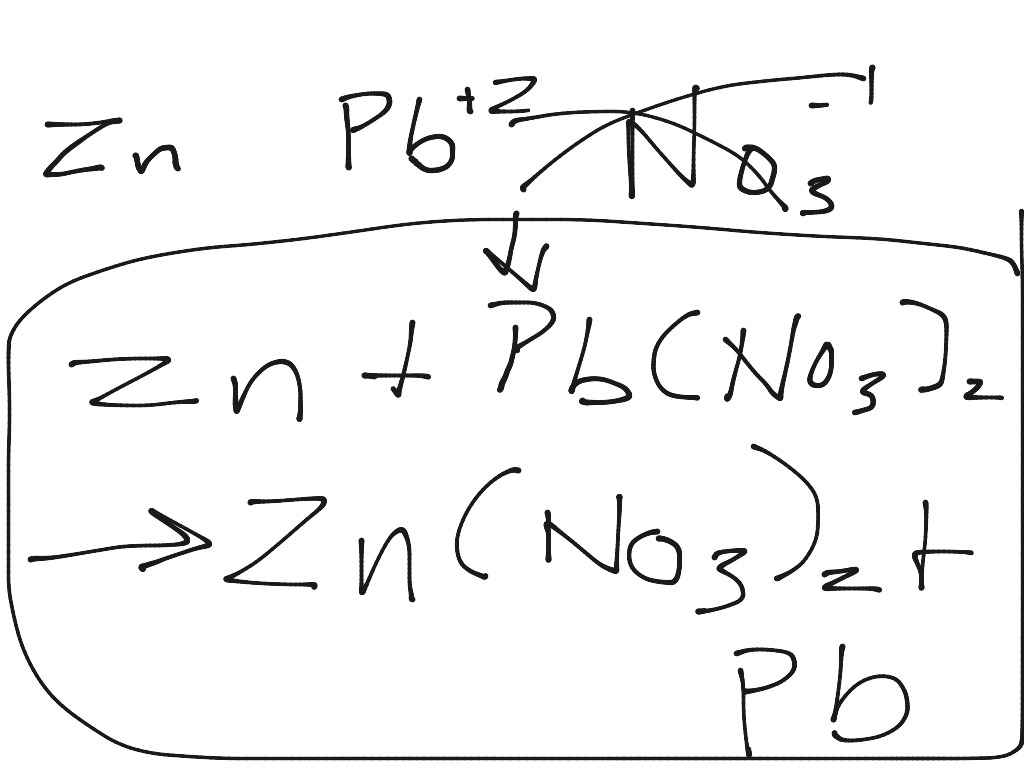 Zinc and lead (II) nitrate react to form zinc nitrate and lead ...