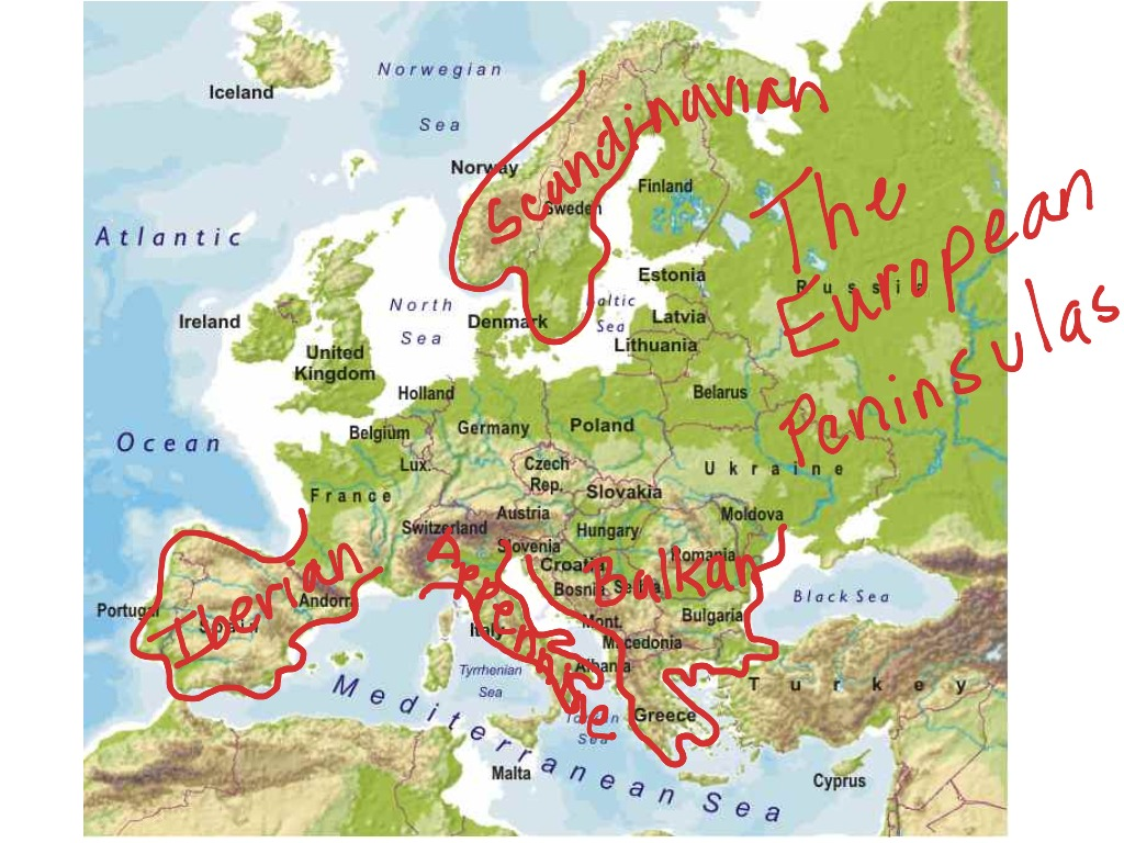 Picture of: European Peninsulas Geography Showme