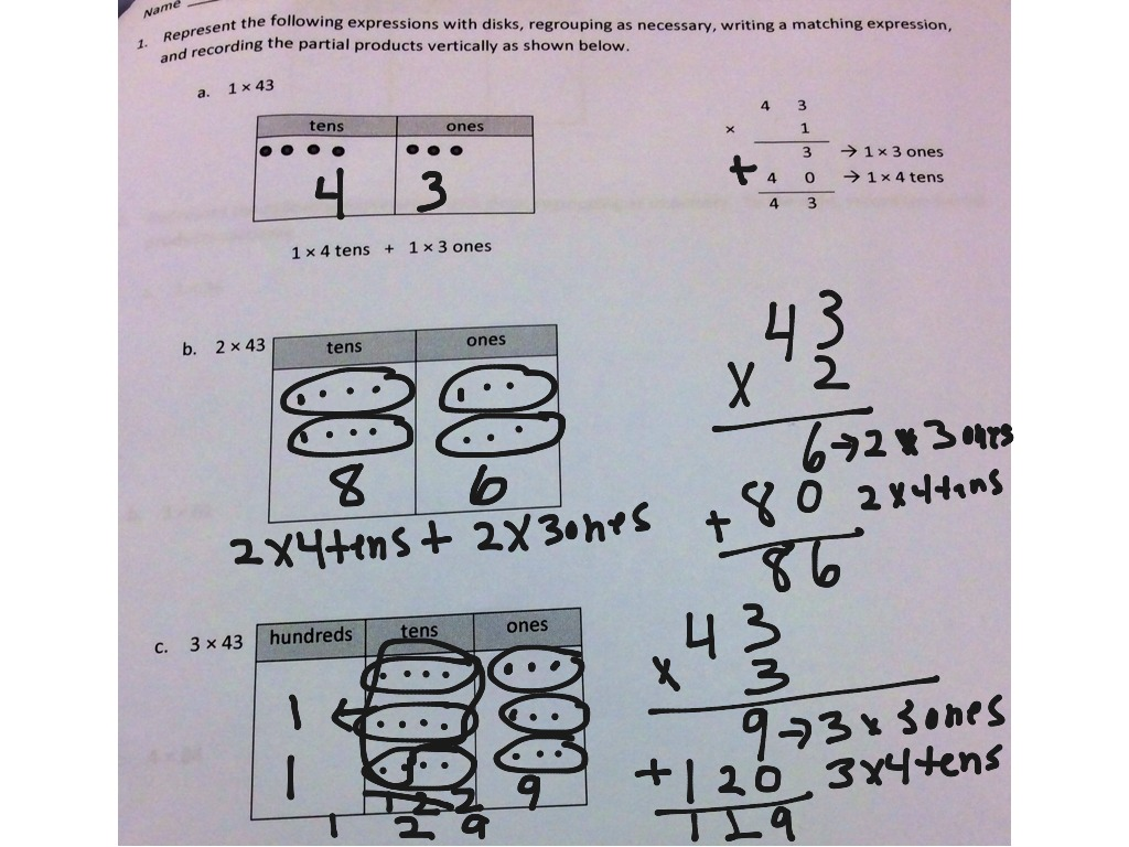 Module 3 - 7 using place value disks to represent two-digit by one ...