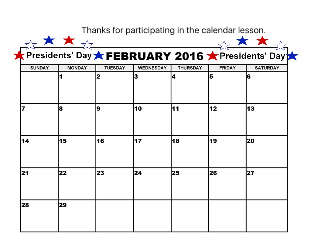 M S Spec Ed February 2016 Calendar Lesson Nf Moderate