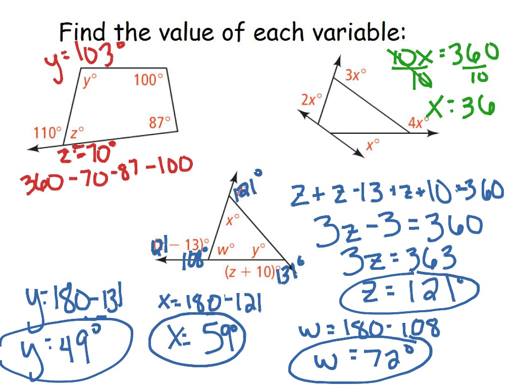 6 1 polygon angle sum theorems math geometry angles - The exterior angle theorem answers ...
