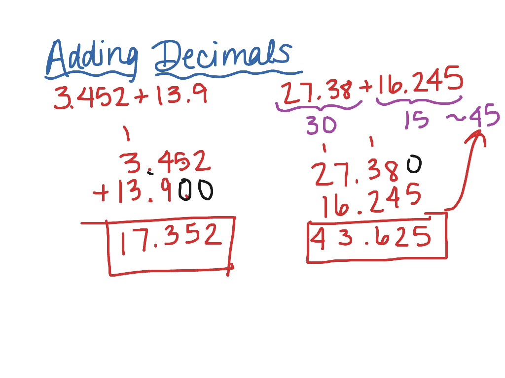 showme - adding decimals steps