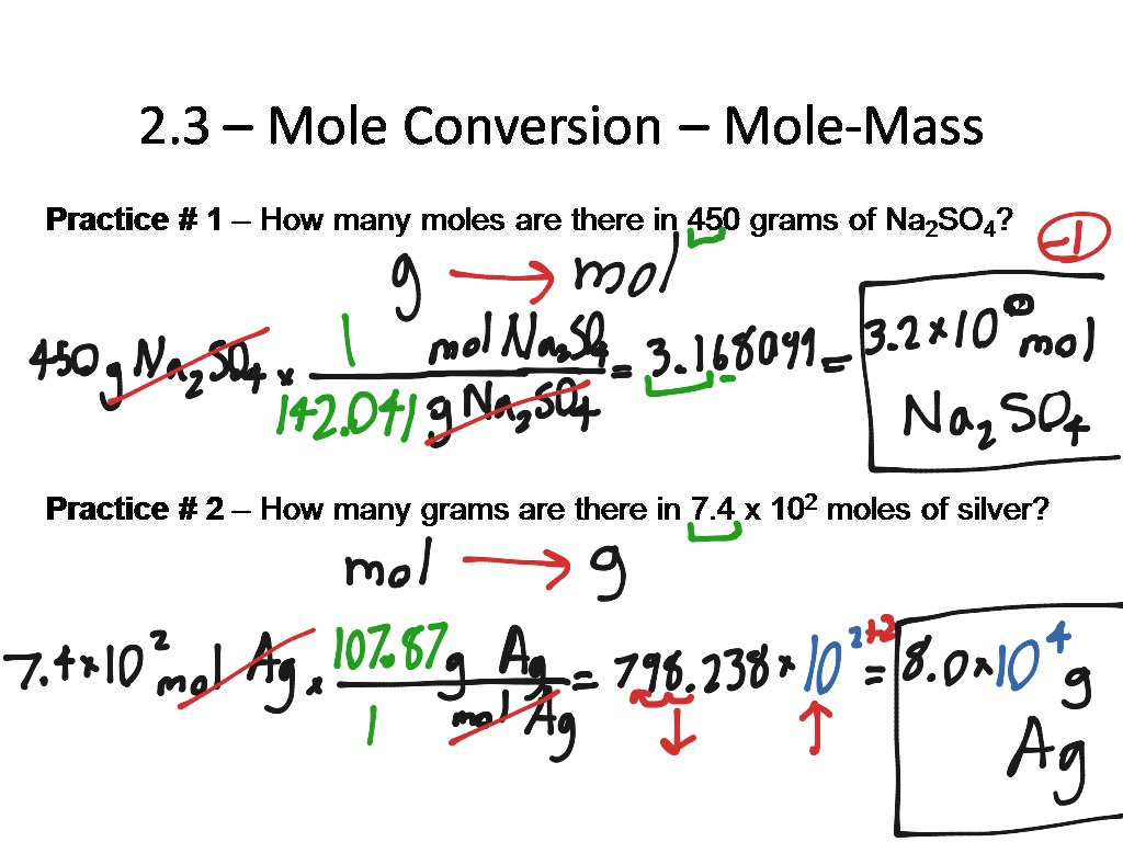 2.3 - Mole Conversion - Mole-Mass - 1 step | Science, Chemistry ...