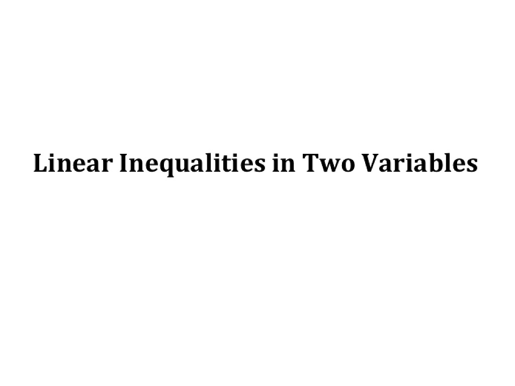 most-viewed-thumbnail. 3.3 Linear Inequalities in Two Variables
