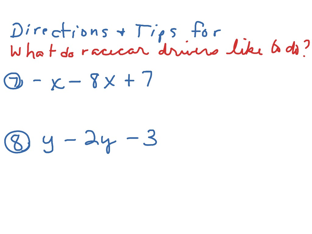 What do race car drivers like to do Worksheet – Algebra with Pizzazz Worksheet Answers