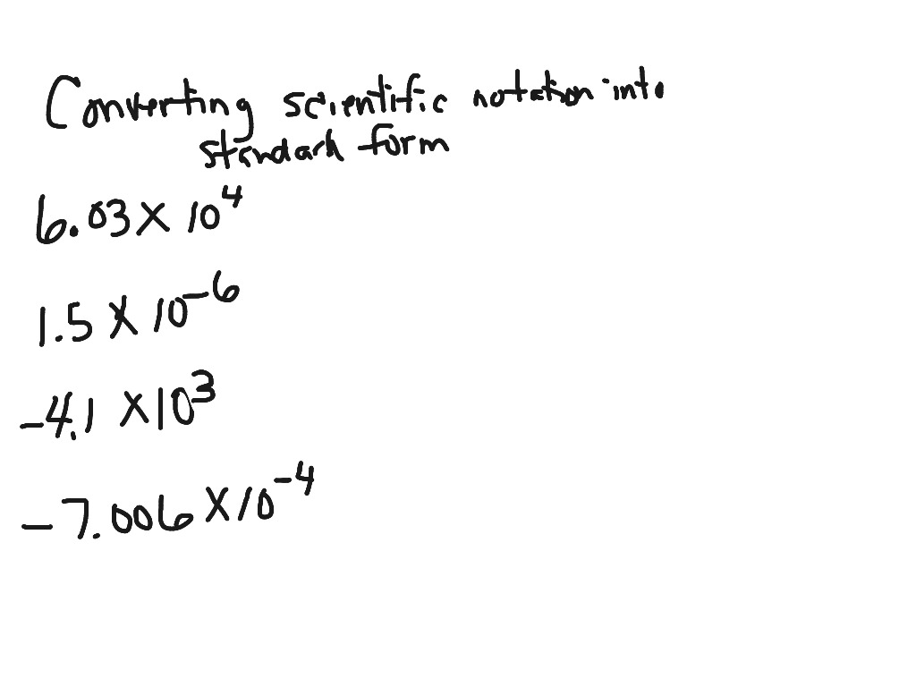 Ms Math Scientific Notation And Standard Form Math Converting
