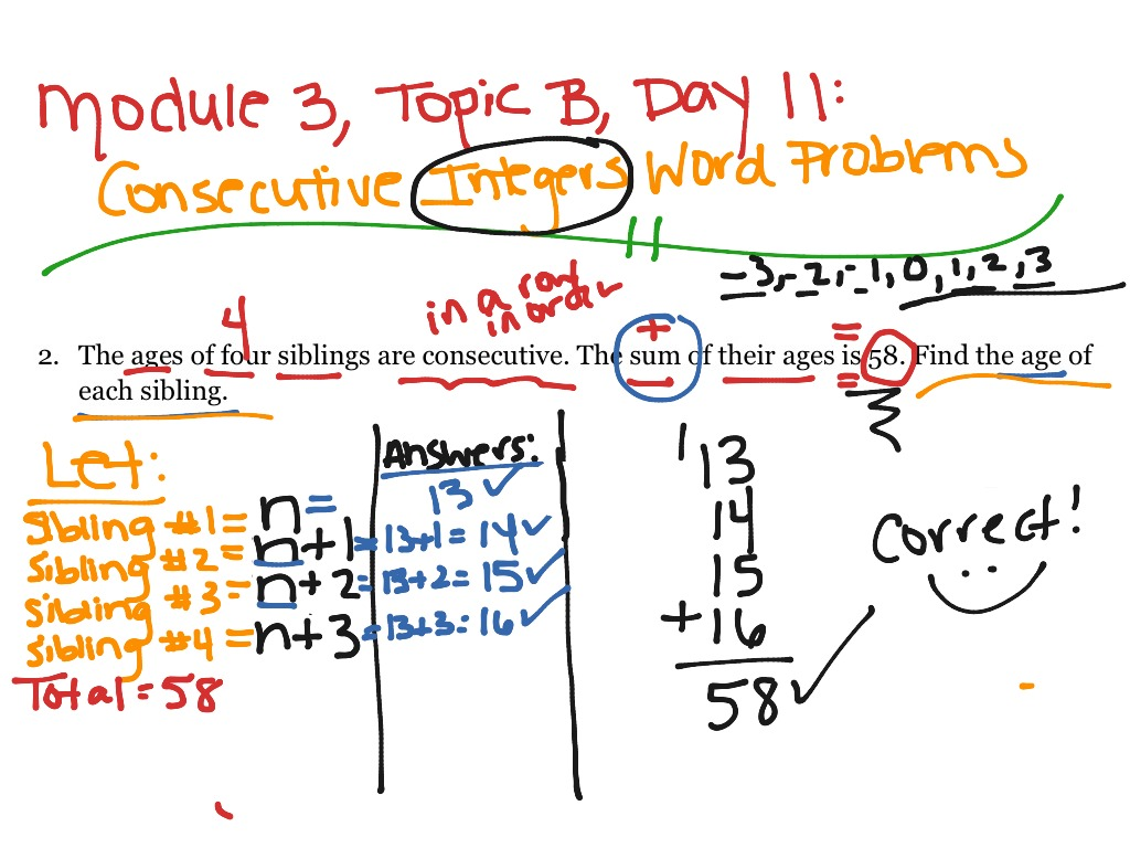 how to solve consecutive integers