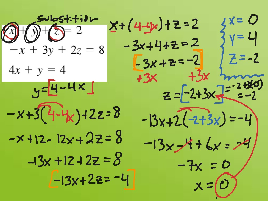 Alg2 System of Eqs with Three Variables: Sub | Math, Algebra